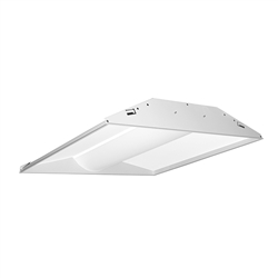Juno Lighting S2X4BL-3935U-WH3-BR Indy 2x4 LED Low-Profile Recessed Luminaire With Basket Diffuser, 3900 Lumens, 3500K, 120-277V, White, Gen3, Emergency Battery pack With Remote Test Switch