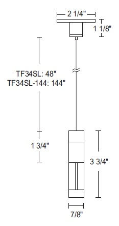 Juno Track Lighting TF34SL (TF34 48IN SL) Flex 12 Steel Cable Mini Support  Cylinder and Mini Canopy, Silver Color