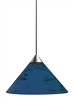 Juno Track Lighting TLP310NIGHTBLUE Decorative Pendant Short Cone Glass Shade Night Blue Glass Color