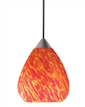 Juno Track Lighting TLP318INFERNO Decorative Pendant Teardrop Glass Shade Inferno Glass Color