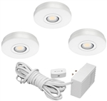 Juno Undercabinet Lighting UK3STL-3K-WH (UK3STL 30K 80CRI WH) 3-Puck Light LED KIT, 3000K Color Temperature, White Finish