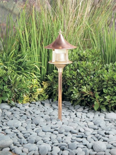 Kim Lighting Bn179nb H60nb 8 Inch Stem 60w A 19 Incandescent 120 Volt Br Traditional Landscape Light Copper Paa Hood Natural Finish