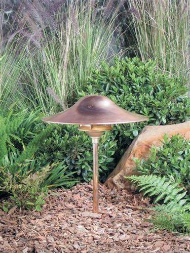 Kim Lighting Klv197 3l3k Nb H70nb 20 Inch Stem Led 12v Br Traditional Landscape Light 5 2w 3 Leds 3000k Copper Mushroom Hood Natural