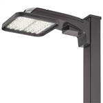 Lithonia KAX1 LED P3 30K R3 MVOLT SPA DNATXD Area Light 130W P3 Performance Package, 3000K Color, Type 3 Distribution, 120-277V, Square Pole Mounting, Textured Natural Aluminum