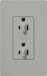 Lutron CAR-15-DFDU-GR Claro 15A Duplex Receptacle for Dimming Use in Gray