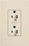 Lutron CAR-15-DFDU-LA Claro 15A Duplex Receptacle for Dimming Use in Light Almond