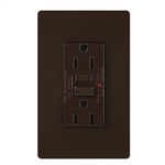 Lutron CAR-15-GFST-BR Claro Self-Testing Tamper Resistant 15A GFCI Receptacle, in Brown