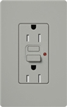 Lutron CAR-15-GFTR-GR Claro Tamper Resistant 15A GFCI Receptacle in Gray (Replaced by CAR-15-GFST-GR)