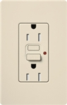 Lutron CAR-15-GFTR-LA Claro Tamper Resistant 15A GFCI Receptacle in Light Almond (Replaced by CAR-15-GFST-LA)