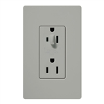 Lutron CAR-15-HDTR-GR Claro Tamper Resistant 15A Split Duplex Receptacle Half for Dimming Use in Gray
