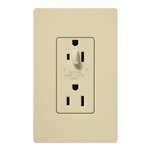 Lutron CAR-15-HDTR-IV Claro Tamper Resistant 15A Split Duplex Receptacle Half for Dimming Use in Ivory