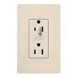Lutron CAR-15-HDTR-LA Claro Tamper Resistant 15A Split Duplex Receptacle Half for Dimming Use in Light Almond
