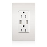 Lutron CAR-15-UBTR-LA Claro 15A Dual USB Receptacle, Tamper Resistant, in Light Almond