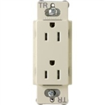 Lutron CARS-15-TR-AL Claro Tamper Resistant 15A Duplex Receptacle in Almond
