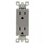 Lutron CARS-15-TR-GR Claro Tamper Resistant 15A Duplex Receptacle in Gray