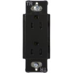Lutron CARS-15-TRH-BL Claro Tamper Resistant 15A Duplex Receptacle in Black