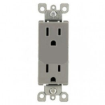 Lutron CARS-15-TRH-GR Claro Tamper Resistant 15A Duplex Receptacle in Gray