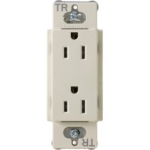 Lutron CARS-15-TRH-LA Claro Tamper Resistant 15A Duplex Receptacle in Light Almond