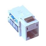 Lutron CON-1P-C6-WH Connector, Telephone Jack, 8-conductor, RJ45 Category 6 in White