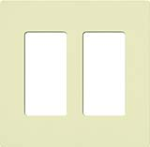 Lutron CW-2-AL Claro Screwless Wallplate 2 Gang in Almond