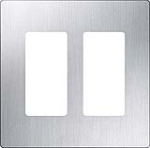 Lutron CW-2-SS Claro Screwless Wallplate 2 Gang in Stainless Steel