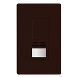 Lutron MS-B102-V-BR Maestro Dual Technology Ultrasonic and Passive Infrared Vacancy Sensor Switch for Single Circuit, Neutral Wire Required, in Brown