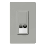 Lutron MS-B102-V-GR Maestro Dual Technology Ultrasonic and Passive Infrared Vacancy Sensor Switch for Single Circuit, Neutral Wire Required, in Gray