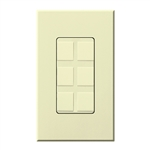 Lutron NT-6PF-AL Nova T Field-Customizable 6 Port Frame in Almond, Matte Finish