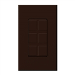 Lutron NT-6PF-BR Nova T Field-Customizable 6 Port Frame in Brown, Matte Finish