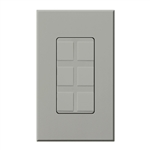 Lutron NT-6PF-GR Nova T Field-Customizable 6 Port Frame in Gray, Matte Finish