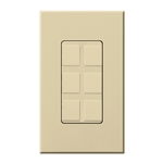 Lutron NT-6PF-IV Nova T Field-Customizable 6 Port Frame in Ivory, Matte Finish