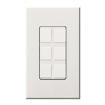 Lutron NT-6PF-WH Nova T Field-Customizable 6 Port Frame in White, Matte Finish