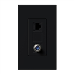Lutron NT-PJ8CJ-BL Nova T, Phone/Cable Jack in Black, Matte Finish