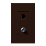Lutron NT-PJ8CJ-BR Nova T, Phone/Cable Jack in Brown, Matte Finish