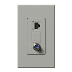 Lutron NT-PJ8CJ-GR Nova T, Phone/Cable Jack in Gray, Matte Finish