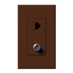 Lutron NT-PJ8CJ-SI Nova T, Phone/Cable Jack in Sienna, Matte Finish