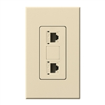 Lutron NT-PJ8X2-BE Nova T, Dual Phone Jack, 8-Conductor, RJ45, Category 5 in Beige, Matte Finish
