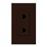 Lutron NT-PJ8X2-BR Nova T, Dual Phone Jack, 8-Conductor, RJ45, Category 5 in Brown, Matte Finish