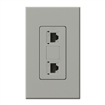 Lutron NT-PJ8X2-GR Nova T, Dual Phone Jack, 8-Conductor, RJ45, Category 5 in Gray, Matte Finish