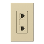 Lutron NT-PJ8X2-IV Nova T, Dual Phone Jack, 8-Conductor, RJ45, Category 5 in Ivory, Matte Finish