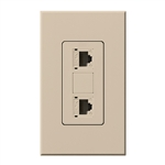Lutron NT-PJ8X2-TP Nova T, Dual Phone Jack, 8-Conductor, RJ45, Category 5 in Taupe, Matte Finish