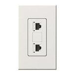 Lutron NT-PJ8X2-WH Nova T, Dual Phone Jack, 8-Conductor, RJ45, Category 5 in White, Matte Finish