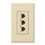 Lutron NT-PJ8X3-BE Nova T, Triple Phone Jack, 8-Conductor, RJ45, Category 5 in Beige, Matte Finish
