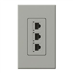 Lutron NT-PJ8X3-GR Nova T, Triple Phone Jack, 8-Conductor, RJ45, Category 5 in Gray, Matte Finish