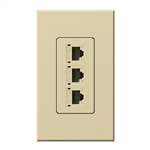 Lutron NT-PJ8X3-IV Nova T, Triple Phone Jack, 8-Conductor, RJ45, Category 5 in Ivory, Matte Finish