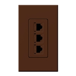 Lutron NT-PJ8X3-SI Nova T, Triple Phone Jack, 8-Conductor, RJ45, Category 5 in Sienna, Matte Finish