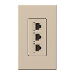 Lutron NT-PJ8X3-TP Nova T, Triple Phone Jack, 8-Conductor, RJ45, Category 5 in Taupe, Matte Finish
