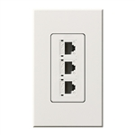 Lutron NT-PJ8X3-WH Nova T, Triple Phone Jack, 8-Conductor, RJ45, Category 5 in White, Matte Finish