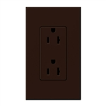 Lutron NTR-15-BR Nova T Receptacles 15A 125V in Brown, Matte Finish