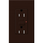 Lutron NTR-15-GFTR-BR Nova T Duplex Tamper Resistant GFCI Receptacles 15A 125V in Brown, Matte Finish (Replaced by NTR-15-GFST-BR)